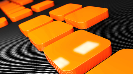 checked: 3d orange metal and carbon background squares, 3d illustration