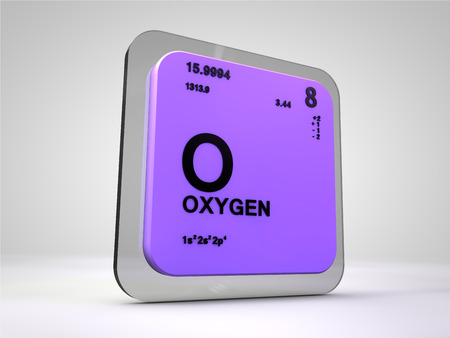 oxigen: oxigen - O - chemical element periodic table 3d render Stock Photo