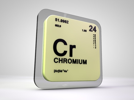 cr: Chromium - Cr - chemical element periodic table 3d render Stock Photo
