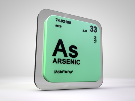 arsenic: Arsenic- As - chemical element periodic table 3d render