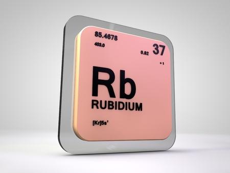 Rubidium - Rb - chemical element periodic table 3d render