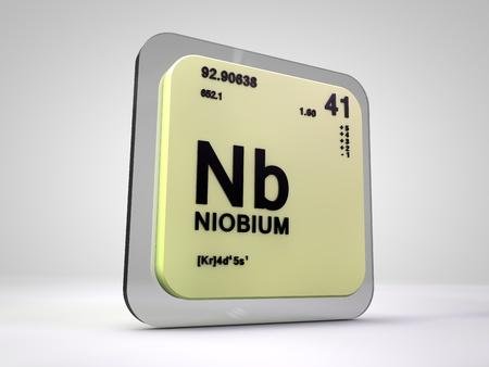 niobium: Niobium - Nb - chemical element periodic table 3d render