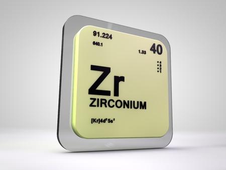 Zirconium Zr Chemical Element Periodic Table 3d Render Stock