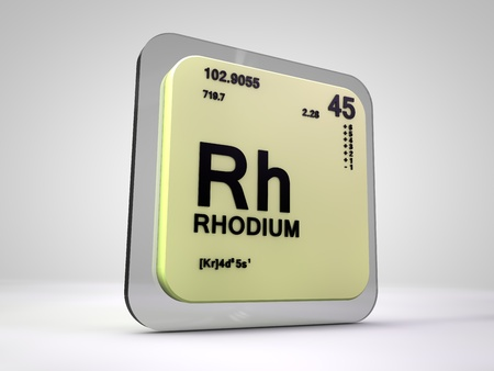 Rhodium - Rh - chemical element periodic table 3d render Stock Photo