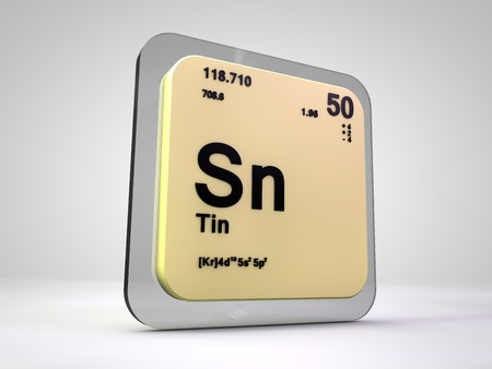 Tin Sn Chemical Element Periodic Table 3d Render Stock Photo