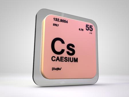cs: cesium - Cs - chemical element periodic table 3d render Stock Photo