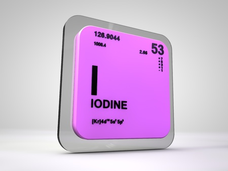 atomic symbol: iodine - I - chemical element periodic table 3d render