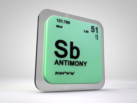 antimony: Antimony - Sb - chemical element periodic table 3d render