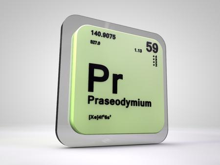 Proseodymium - Pr - chemical element periodic table 3d render