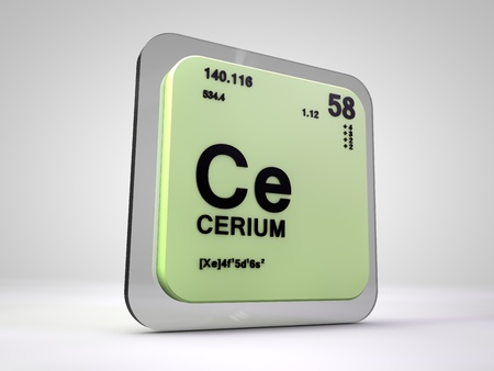 atomic symbol: Cerium - Ce - chemical element periodic table 3d render