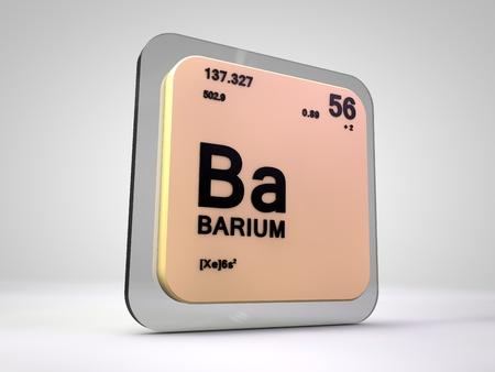 barium: Barium - Ba - chemical element periodic table 3d render Stock Photo