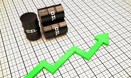 Oil price up illustration chart 3d render