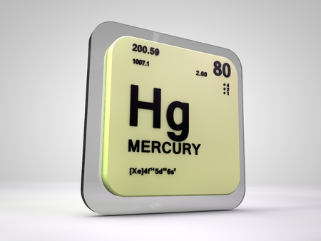 Mercury Hg Chemical Element Periodic Table 3d Render Stock Photo