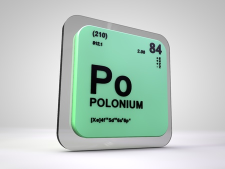 solid: polonium - Po - chemical element periodic table 3d render