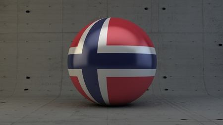 norway flag: Norway flag sphere icon in isolated room 3d render