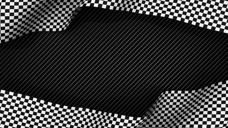 racing: Race finish chequered flag on carbon background 3d render