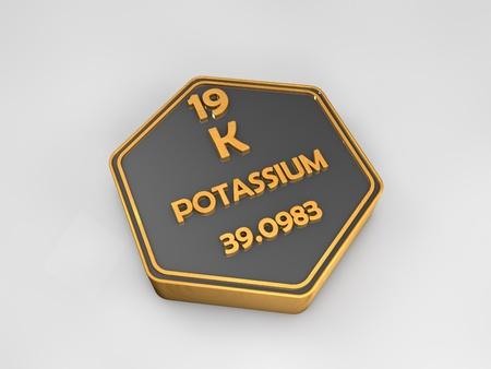 Potassium - K - chemical element periodic table hexagonal shape 3d illustration Stock Photo