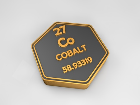 Cobalt - Co - chemical element periodic table hexagonal shape 3d render