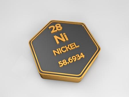 니켈 - 니켈 - 화학 원소 주기율표 육각형 모양 3 차원 렌더링