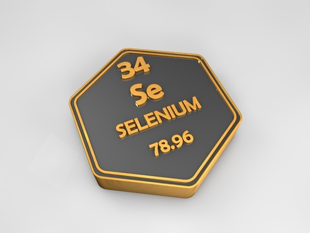 Selenium - Se - chemical element periodic table hexagonal shape 3d render Stock Photo