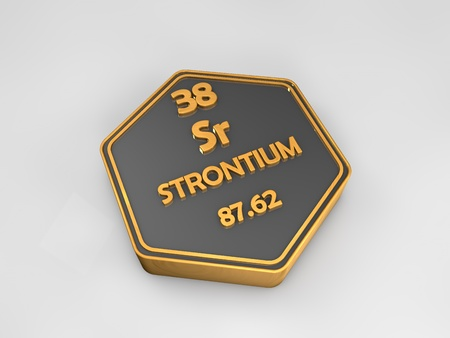 strontium: Strontium - Sr - chemical element periodic table hexagon shape 3d render