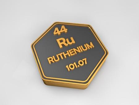 Ruthenium - Ru - chemical element periodic table hexagonal shape 3d render