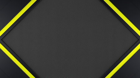 Black and yellow metal frame background 3d render 版權商用圖片