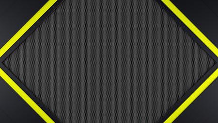 Black and yellow metal frame background 3d render Reklamní fotografie - 81553275