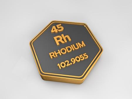 Rhodium - Rh - chemical element periodic table hexagonal shape 3d render