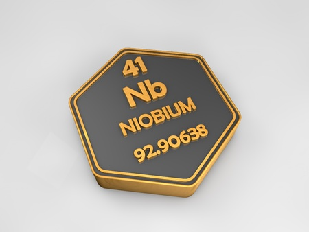 Niobium - Nb - chemical element periodic table hexagonal shape 3d render Stock Photo