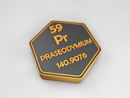 Praseodymium - Pr - chemical element periodic table hexagonal shape 3d render Banco de Imagens