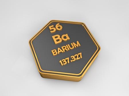 Barium - ba - chemical element periodic table hexagonal shape 3d render