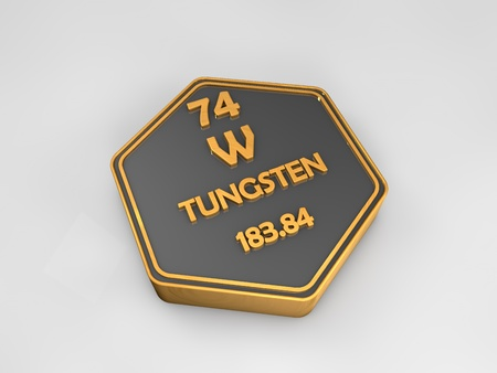 Tungsten - W - chemical element periodic table hexagonal shape 3d render Reklamní fotografie