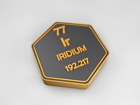 Iridium - Ir - chemical element periodic table hexagonal shape 3d render Stock fotó
