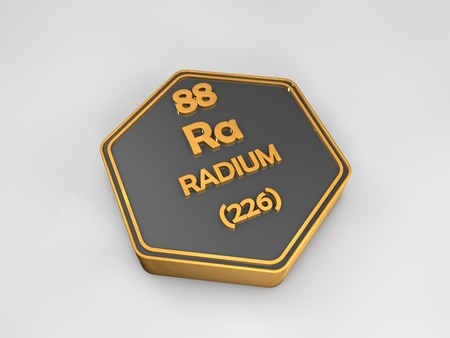 radium: Radium - Ra - chemical element periodic table hexagonal shape 3d render