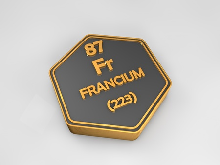 Friction - Fr - chemical element periodic table hexagonal shape 3d render