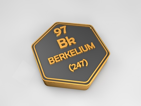 Berkelium - Bk - chemical element periodic table hexagonal shape 3d render
