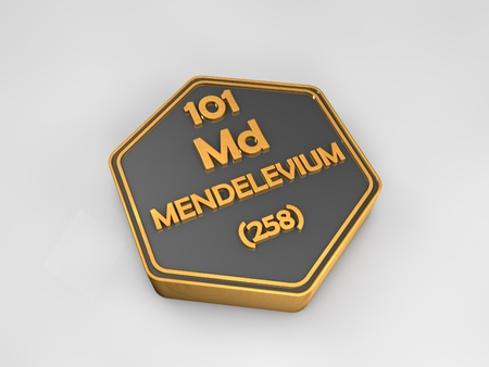 atomic number: Mendelevium - Md - chemical element periodic table hexagonal shape 3d render Stock Photo