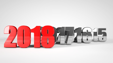 numbers: red text 2018 3d text render