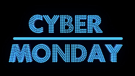 Cyber Monday glowing text on black backgound, 3r render.