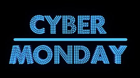 Cybermaandag gloeiende tekst op zwarte achtergrondkleur, 3r render.