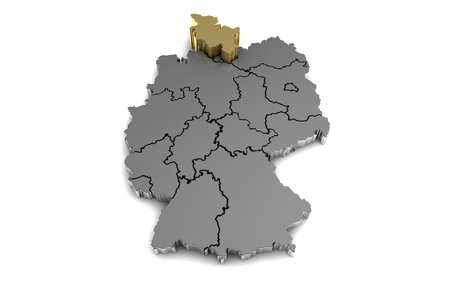 metal germany map, with schleswig-holstein region, highlighted in gold.3d render