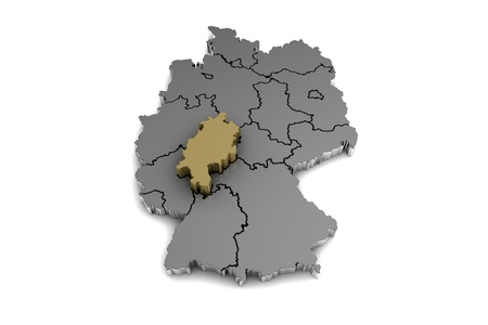 Metal germany map with hessen region highlighted in gold3d metal germany map with hessen region highlighted in gold3d render stock photo gumiabroncs Choice Image