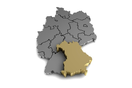 Metal germany map, with bayern region, highlighted in gold.3d render
