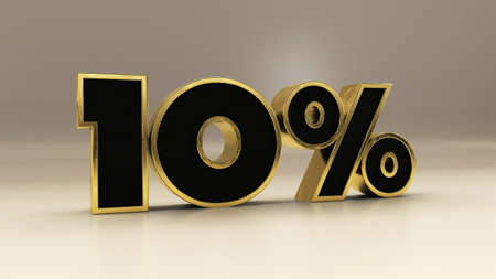 10 percent 3d gold and black luxury text isolated on white, 3d render illustration