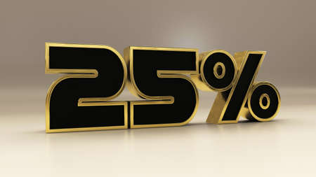 25 percent 3d gold and black luxury text isolated on white, 3d render illustration