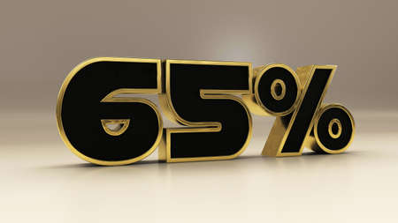 65 percent 3d gold and black luxury text isolated on white, 3d render illustration