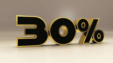 30 percent 3d gold and black luxury text isolated on white, 3d render illustration