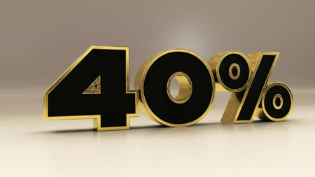 40 percent 3d gold and black luxury text isolated on white, 3d render illustration