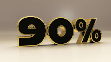 90 percent 3d gold and black luxury text isolated on white, 3d render illustration